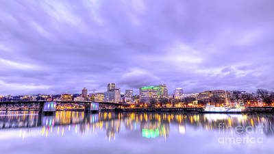 Downtown Portland Oregon Waterfront Sunset Clouds Poster