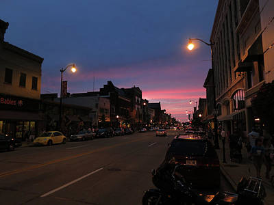 Poster featuring the photograph Downtown Racine At Dusk by Mark Czerniec