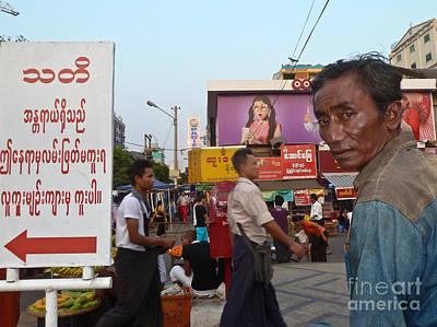 Downtown Rangoon Burma With Curious Man Poster by Jason Rosette