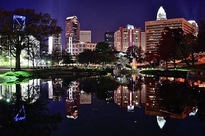 Downtown Reflection Of Charlotte Poster by Frozen in Time Fine Art Photography