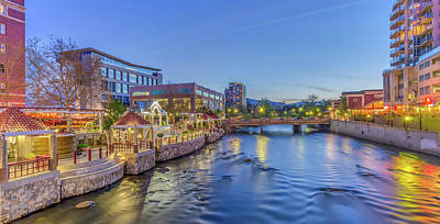 Downtown Reno Along The Truckee River Poster by Scott McGuire