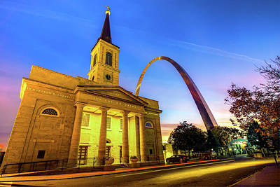 Downtown Saint Louis Arch And The Old Cathedral - Basilica Of St. Louis Poster by Gregory Ballos