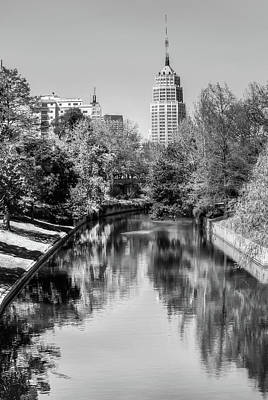 Poster featuring the photograph Downtown San Antonio Skyline On The River In Black And White by Gregory Ballos