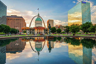 Poster featuring the photograph Downtown St. Louis Skyline Morning Sunrise Reflections by Gregory Ballos