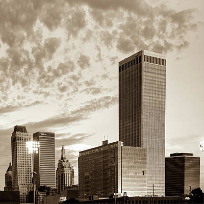 Poster featuring the photograph Downtown Tulsa Skyline Squared In Sepia by Gregory Ballos