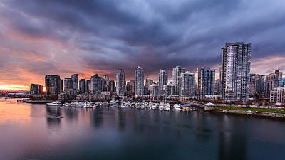 Downtown Vancouver Sunset Poster