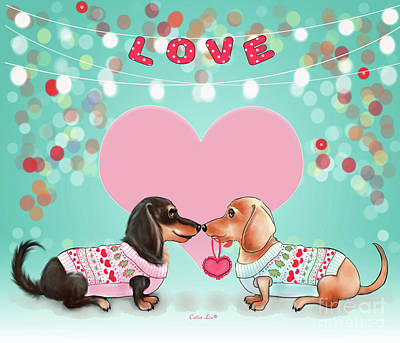 Poster featuring the painting Doxie Valentine's Party by Catia Lee