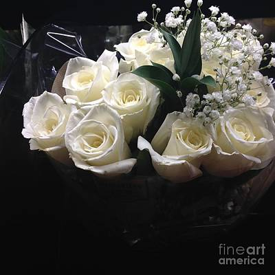 Dozen White Bridal Roses Poster by Richard W Linford
