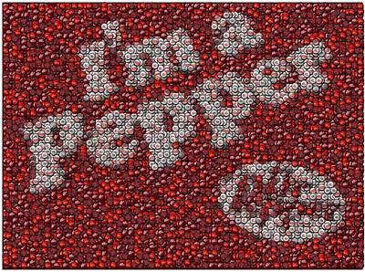 Dr. Pepper Bottle Cap Mosaic Poster by Paul Van Scott