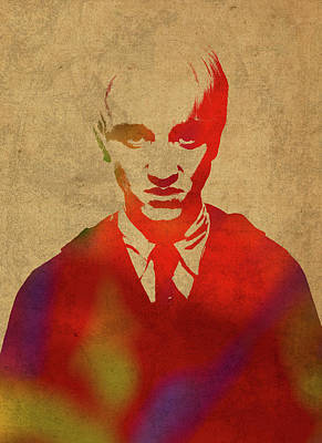Draco Malfoy From Harry Potter Watercolor Portrait Poster by Design Turnpike