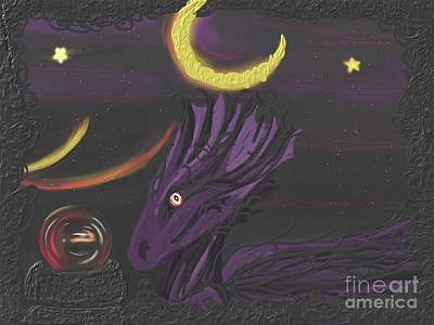 Poster featuring the painting Dragon Night by Roxy Riou