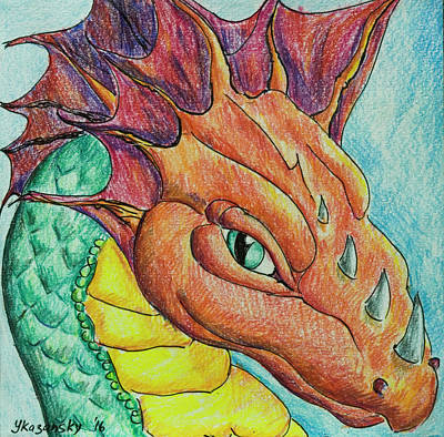 Poster featuring the drawing Dragon Portrait by Yulia Kazansky