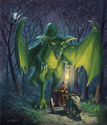 Dragon Walking With Lamp Fantasy Poster by Martin Davey