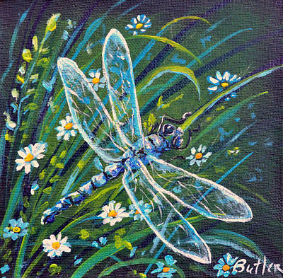 Dragonfly And Daisies Poster by Gail Butler