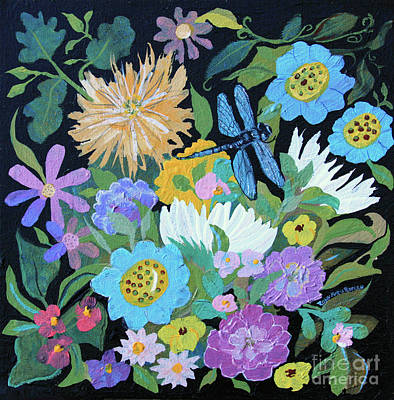 Poster featuring the painting Dragonfly And Flowers by Robin Maria Pedrero