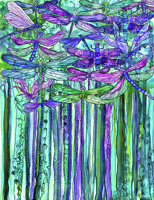 Poster featuring the mixed media Dragonfly Bloomies 1 - Purple by Carol Cavalaris
