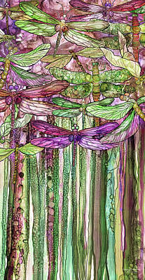 Poster featuring the mixed media Dragonfly Bloomies 2 - Pink by Carol Cavalaris
