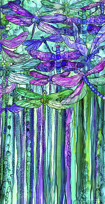 Poster featuring the mixed media Dragonfly Bloomies 2 - Purple by Carol Cavalaris