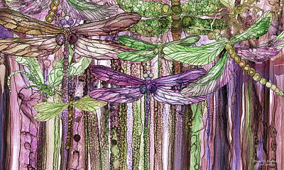 Poster featuring the mixed media Dragonfly Bloomies 3 - Pink by Carol Cavalaris