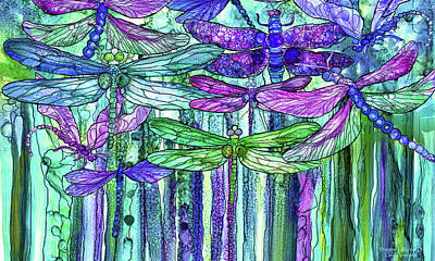 Poster featuring the mixed media Dragonfly Bloomies 3 - Purple by Carol Cavalaris