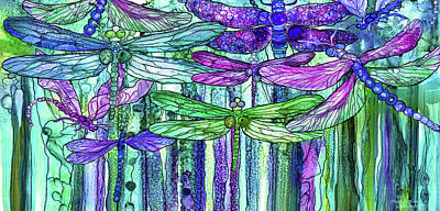 Poster featuring the mixed media Dragonfly Bloomies 4 - Purple by Carol Cavalaris