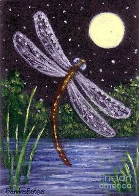 Poster featuring the painting Dragonfly Dreaming by Sandra Estes
