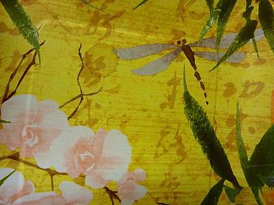 Dragonfly N Roses Poster