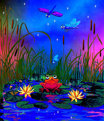 Dragonfly Pond Night Poster by Hanne Lore Koehler
