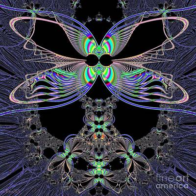 Dragonfly Queen At Midnight Fractal 161 Poster
