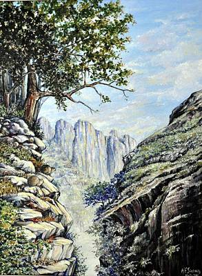 Poster featuring the painting Drakensberg by Heidi Kriel