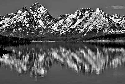 Dramatic Black And White Grand Teton Reflection Poster