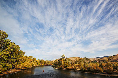 Dramatic Clouds Over Boise River In Boise Idaho Poster
