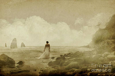 Dramatic Seascape And Woman Poster
