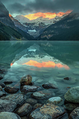 Poster featuring the photograph Dramatic Sunrise At Lake Louise by Pierre Leclerc Photography
