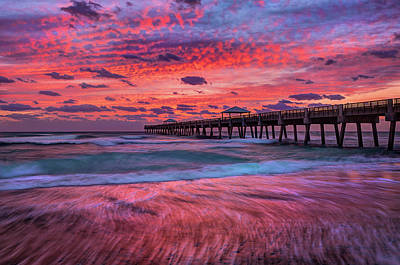 Dramatic Sunrise Over Juno Beach Pier, Florida Poster