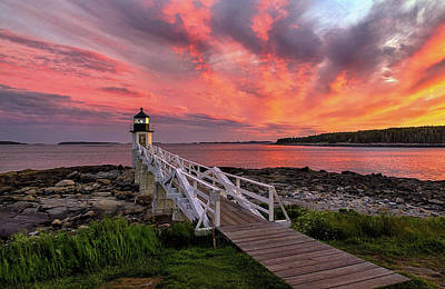 Dramatic Sunset At Marshall Point Lighthouse Poster
