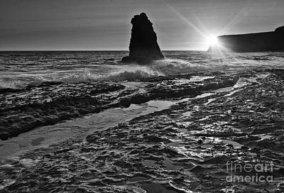 Dramatic View Of A Sea Stack In Davenport Beach, Santa Cruz. Poster by Jamie Pham