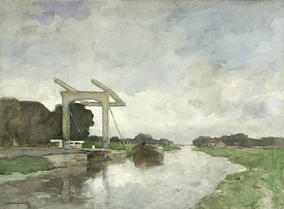 Drawbridge At North Poster by Jan Hendrik Weissenbruch