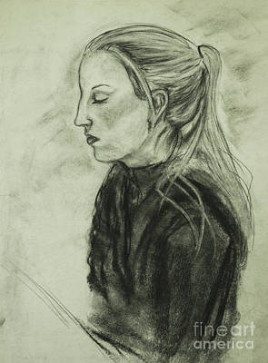 Poster featuring the drawing Drawing Of An Artist by Angelique Bowman
