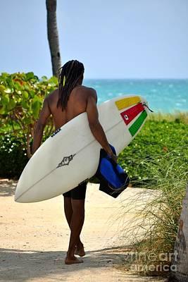 Dreadlocks Surfer Dude Poster