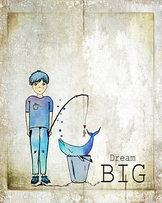 Dream Big Whale In Bucket Ginkelmier Poster