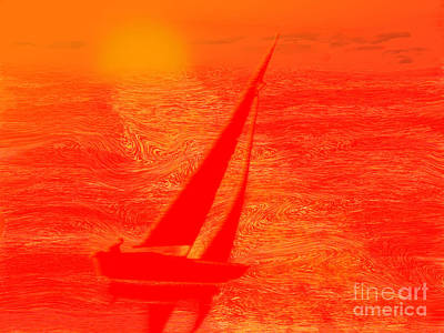 Dream Boat Digital Painting Poster by Conni Schaftenaar