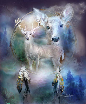 Dream Catcher - Spirit Of The White Deer Poster by Carol Cavalaris