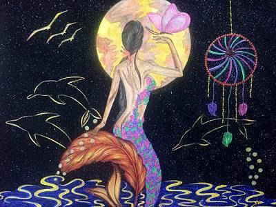 Dreaming Mermaid Poster by Tejsweena Renu Krishan