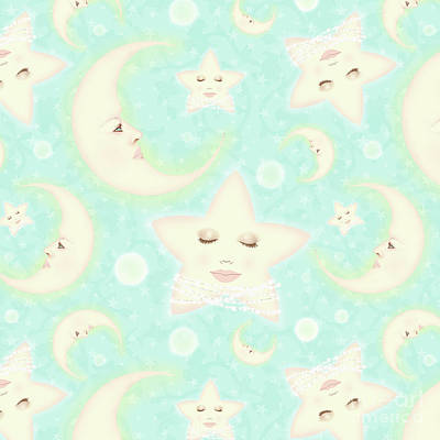 Dreaming Of The Moon And North Star Repeat Pattern Poster
