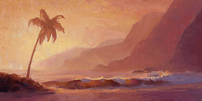 Poster featuring the painting Dreams Of Hawaii - Tropical Beach Sunset Paradise Landscape Painting by Karen Whitworth