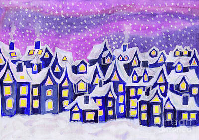 Dreamstown Blue, Painting Poster by Irina Afonskaya