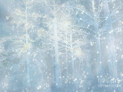 Dreamy Blue Stars Winter Snow Woodlands Nature Print- Pastel Blue Trees Nature Decor Poster