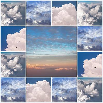 Poster featuring the photograph Dreamy Clouds Collage by Jenny Rainbow
