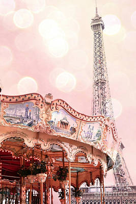 Dreamy Eiffel Tower Carousel Merry Go Round - Paris Baby Girl Nursery Decor  Poster